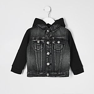 Mini boys grey hooded denim jacket
