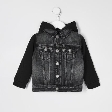 Mini boys grey hooded denim jacket
