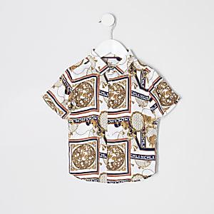 Mini - Ecru overhemd met barokprint voor jongens