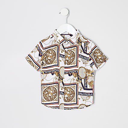 Mini boys ecru baroque shirt