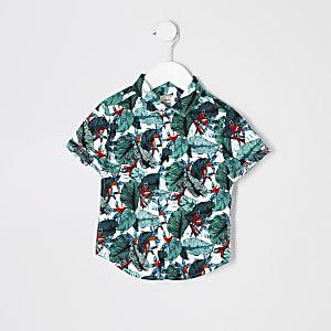 Mini - Wit overhemd met tropische print voor jongens