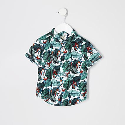 Mini boys white tropical shirt
