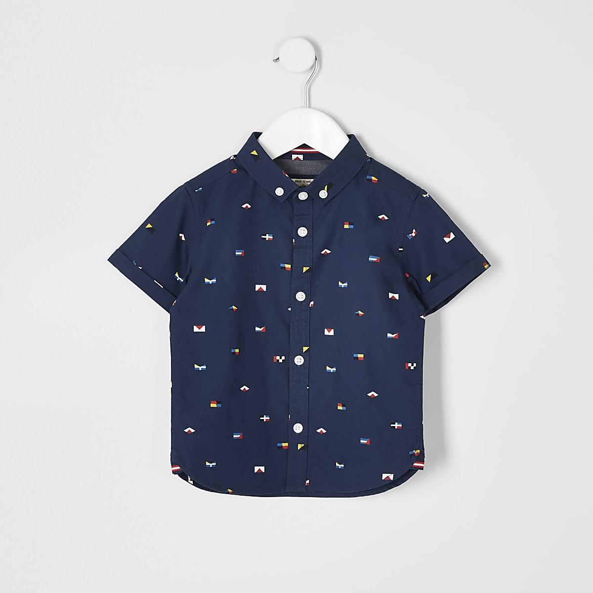 Mini boys navy flag print shirt