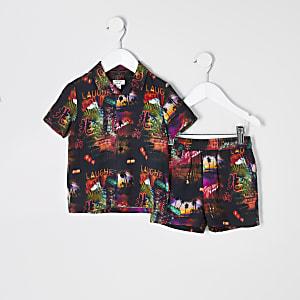 Mini boys black Vegas print shirt outfit