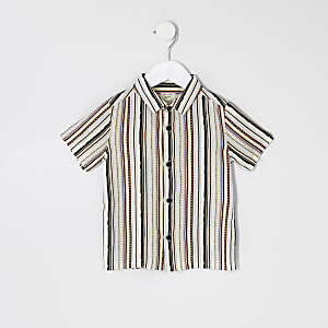 Mini boys white aztec short sleeve shirt