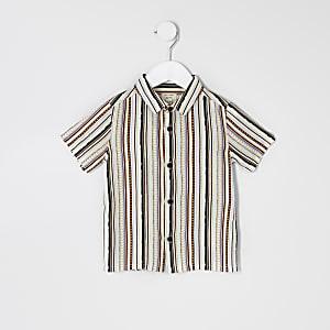 Mini - Wit overhemd met Aztekenprint en  korte mouwen voor jongens