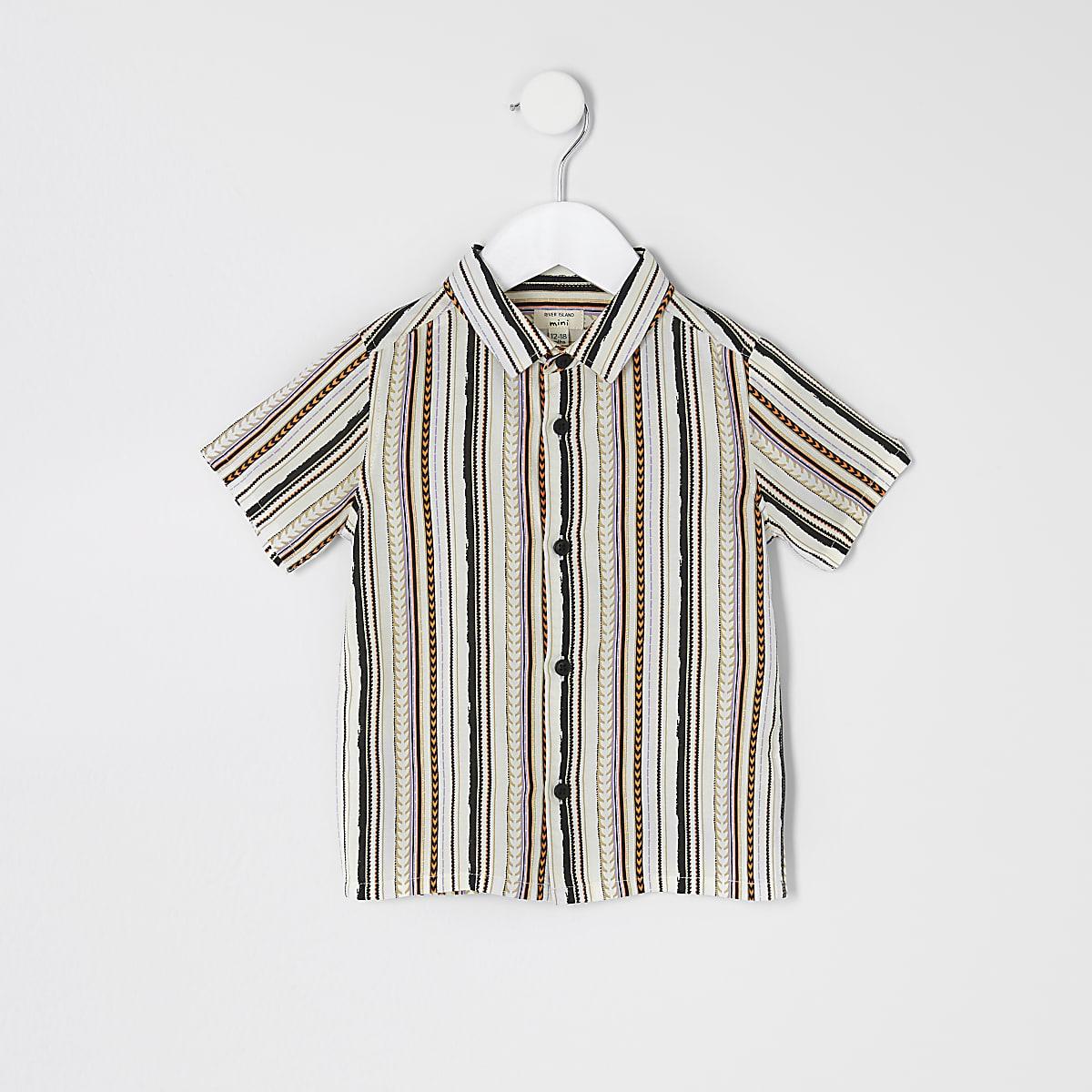 Mini boys white aztec short sleeve shirt