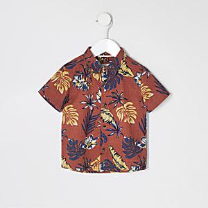 Mini - Bruin overhemd met palmboomprint voor jongens