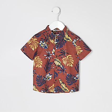 Mini boys brown palm print shirt