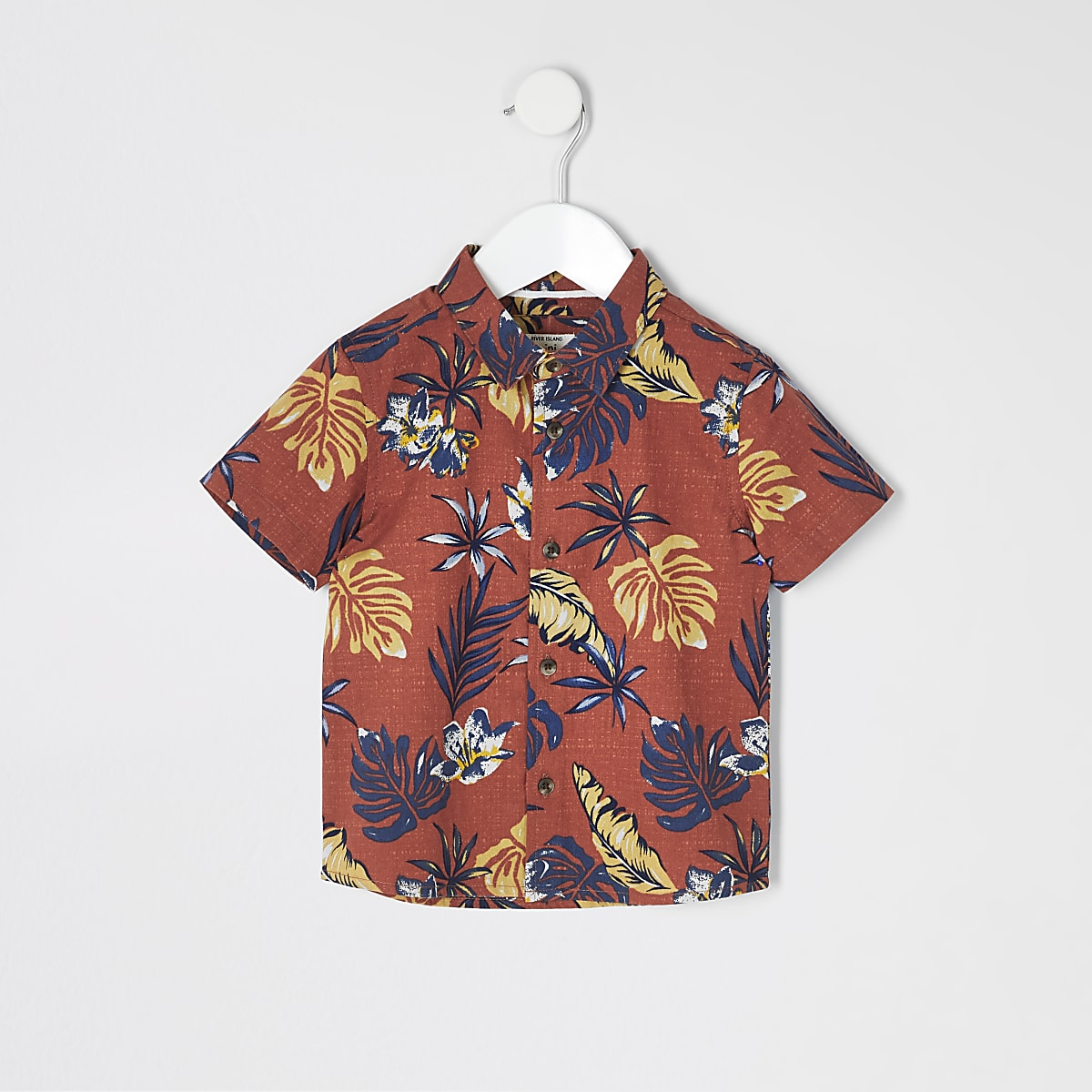 Mini boys brown palm print shirt