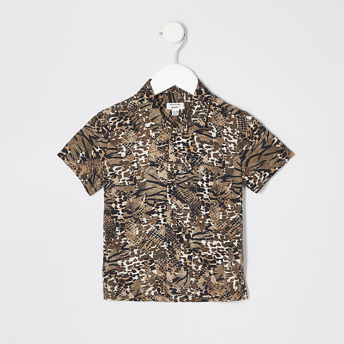 Mini boys brown animal print shirt
