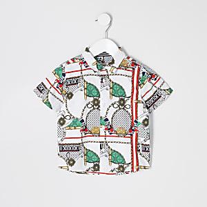 Mini boys navy baroque print poplin shirt