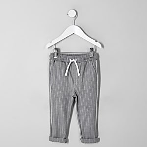 Mini boys grey pinstripe pants