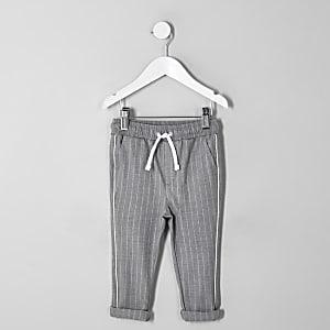 Pantalon à rayures gris mini garçon