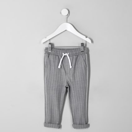Mini boys grey pinstripe trousers