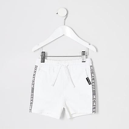Mini boys white pull on shorts