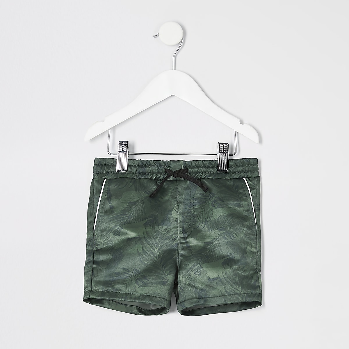 Mini boys khaki camo leaf print shorts