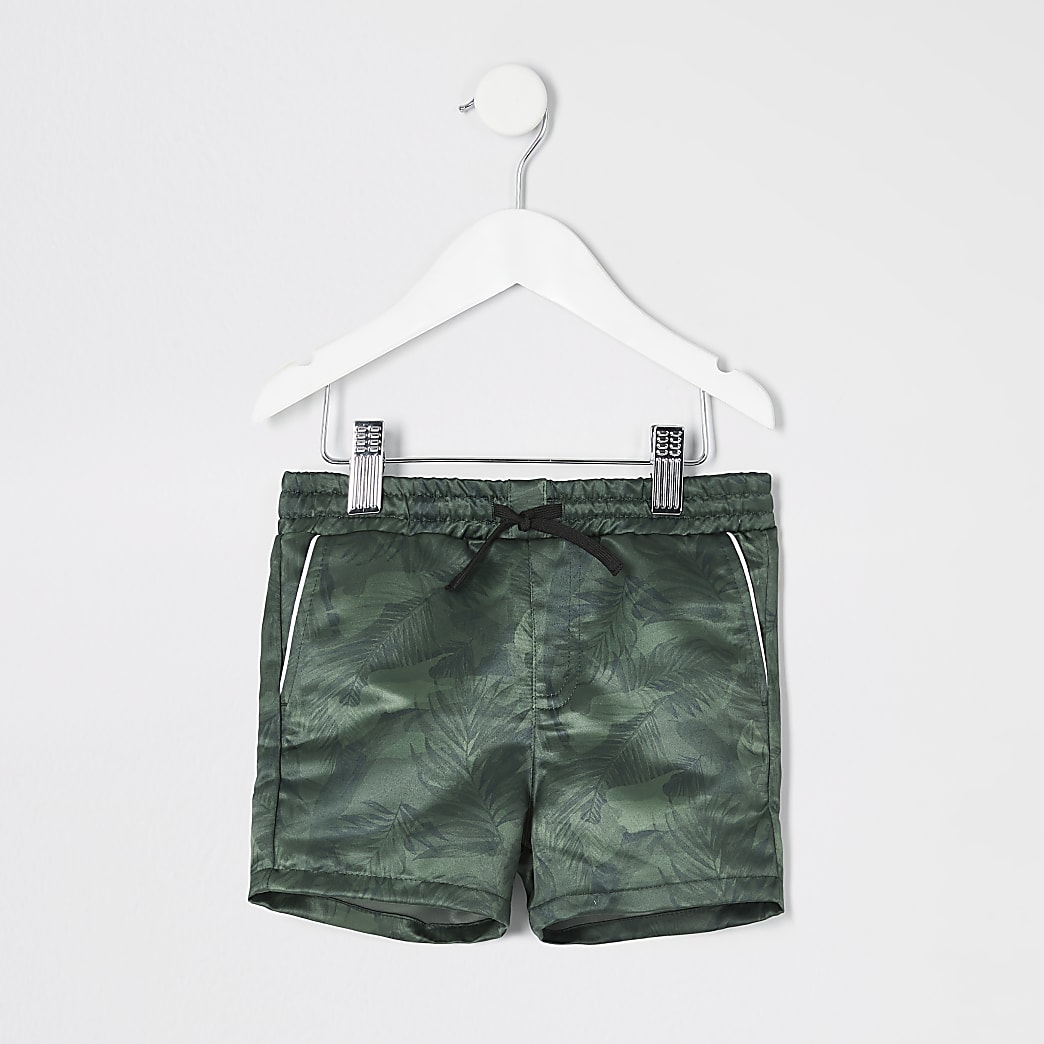 Mini boys khaki camo leaf print shorts