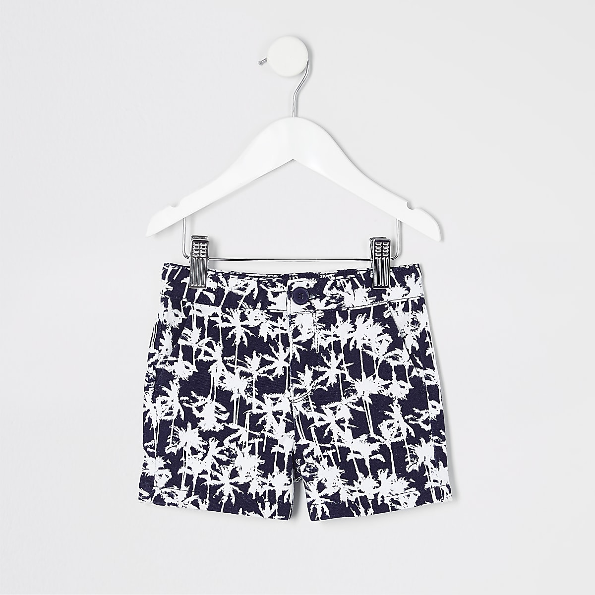 Mini boys navy palm print chino shorts