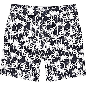 Short chino imprimé palmiers bleu marine pour garçon