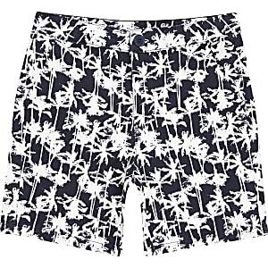 Marineblauwe chinoshort met palmboomprint voor jongens