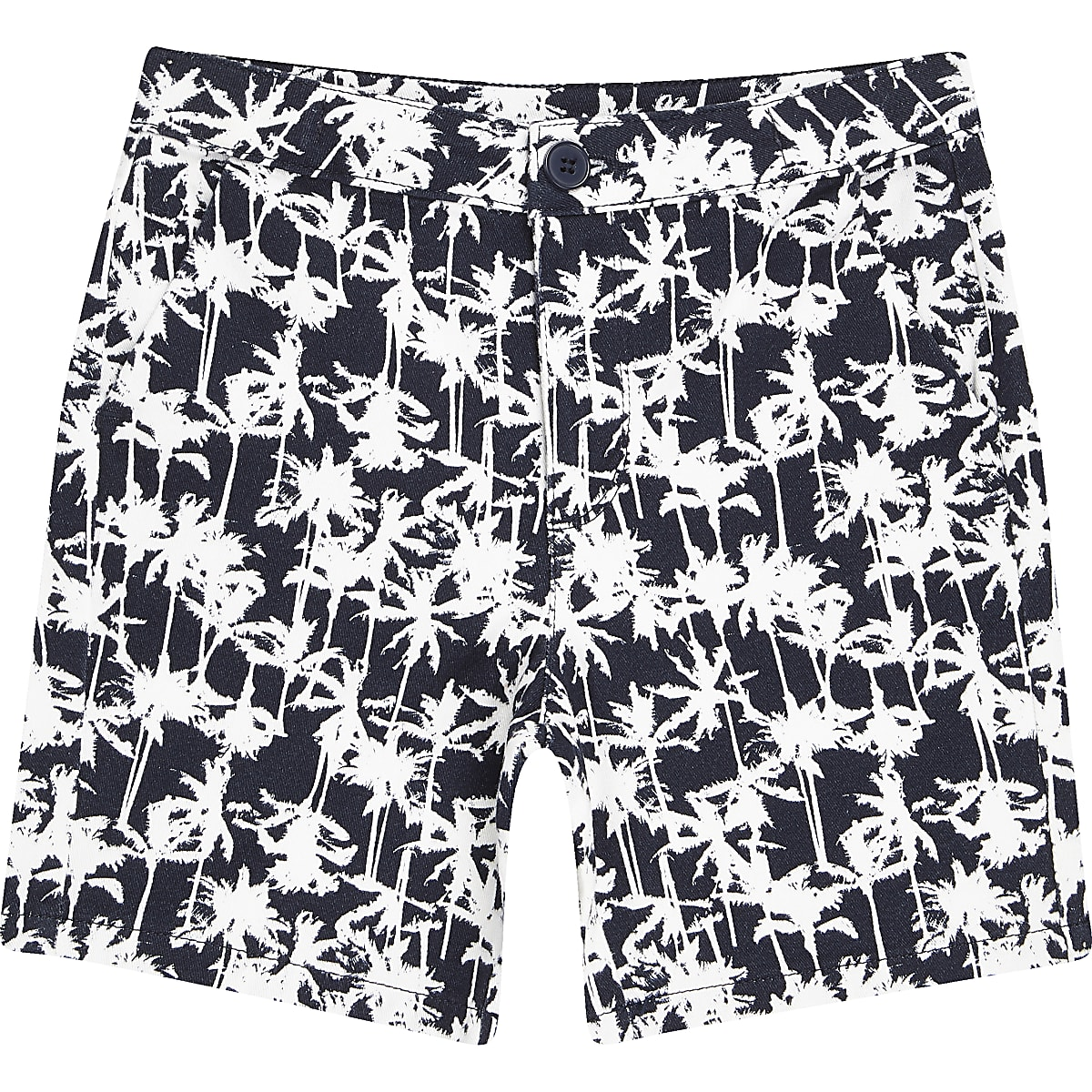 Boys navy palm print chino shorts