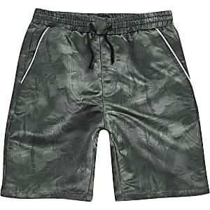 Kaki short met camouflage- en bladprint voor jongens