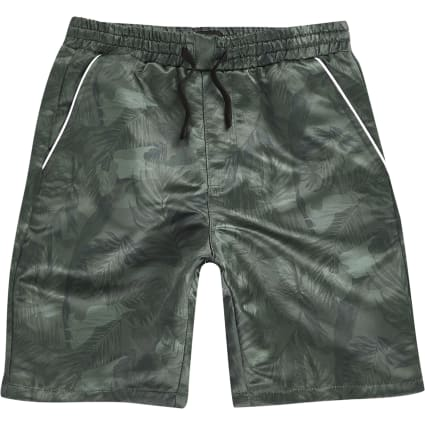 Boys khaki camo leaf print shorts