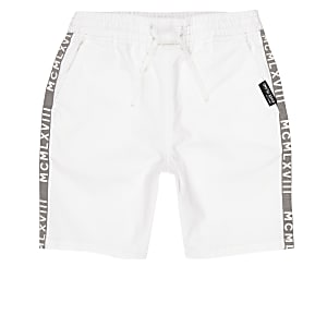 Boys white tape straight fit shorts