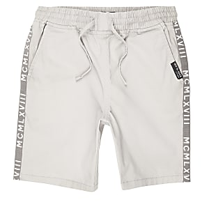 Boys grey straight fit shorts