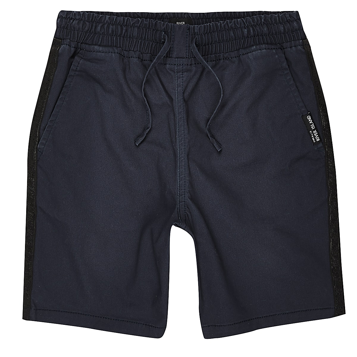 Boys navy tape straight fit shorts