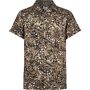 Braunes Hemd mit Animal-Print