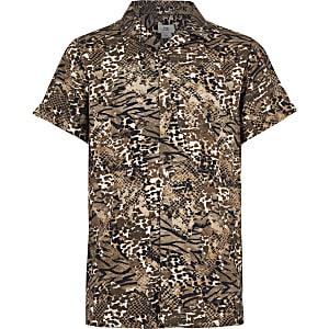 Bruin overhemd met dierenprint voor jongens