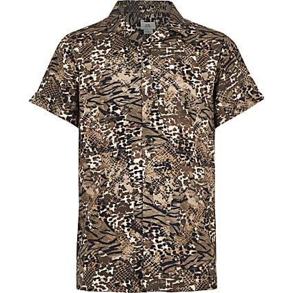 Boys brown animal print shirt