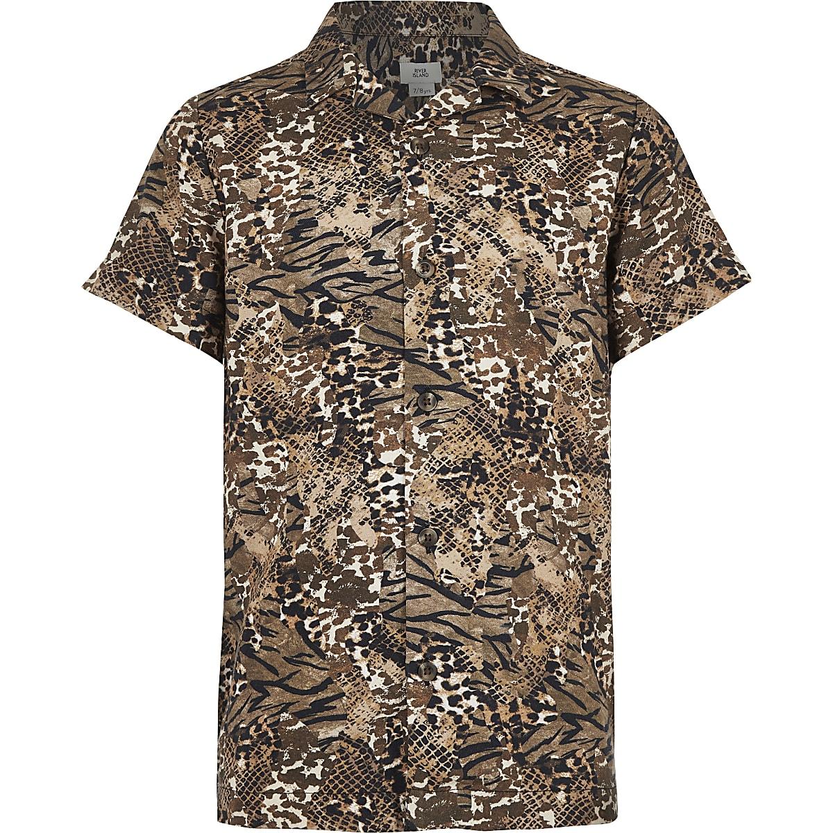 Boys brown animal print shirt