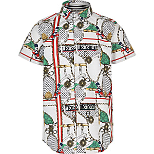 Boys white baroque print shirt