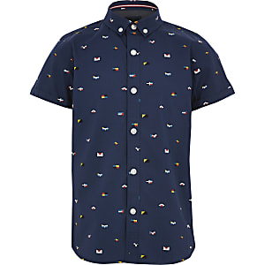 Boys navy printed short sleeve shirt