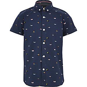 Marineblauw overhemd met print en korte mouwen voor jongens