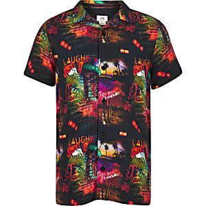 Boys black Vegas print shirt