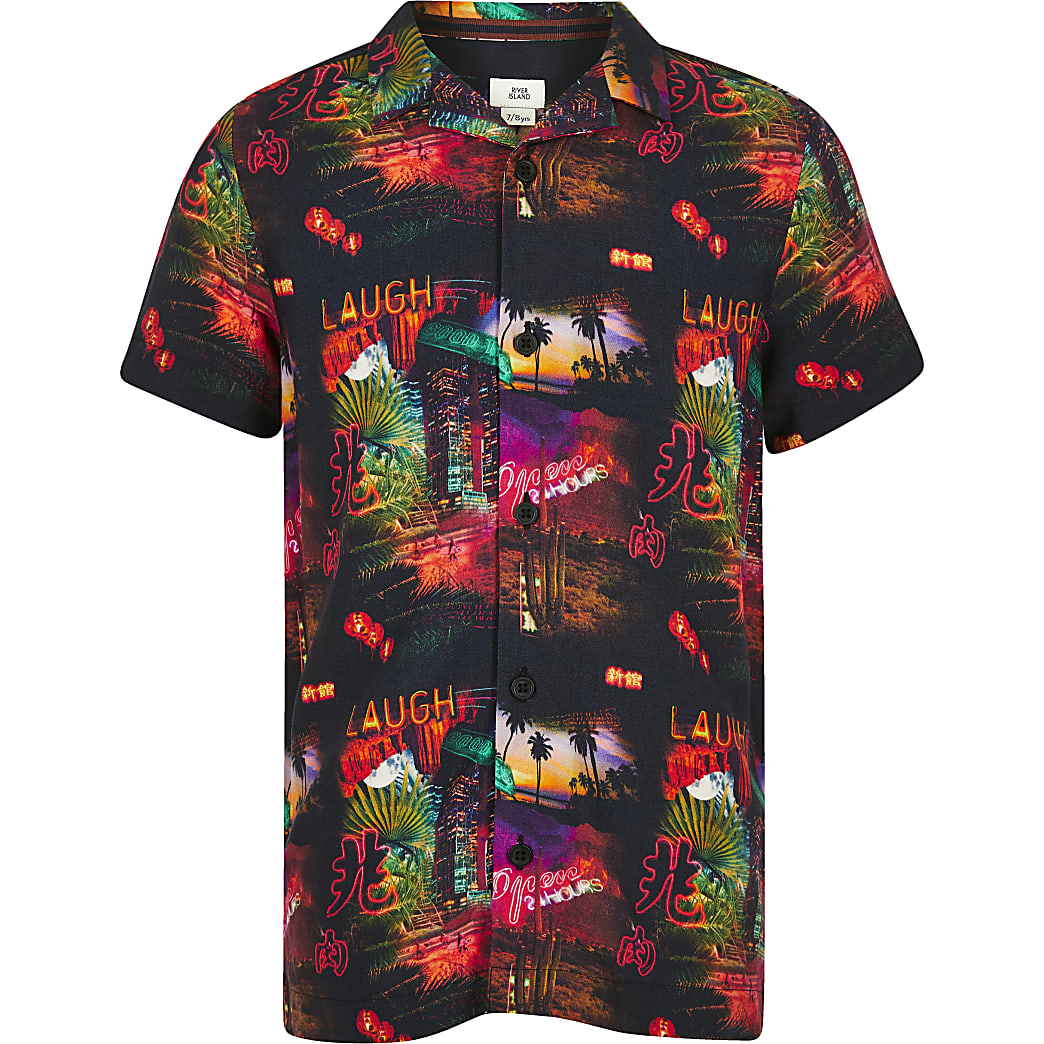 Boys black Vegas print shirt