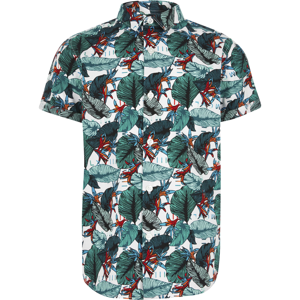 Boys white tropical print shirt