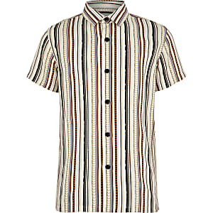 Boys white aztec stripe short sleeve shirt