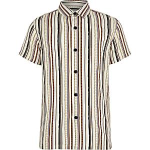 Wit gestreept overhemd met aztekenprint en korte mouwen voor jongens