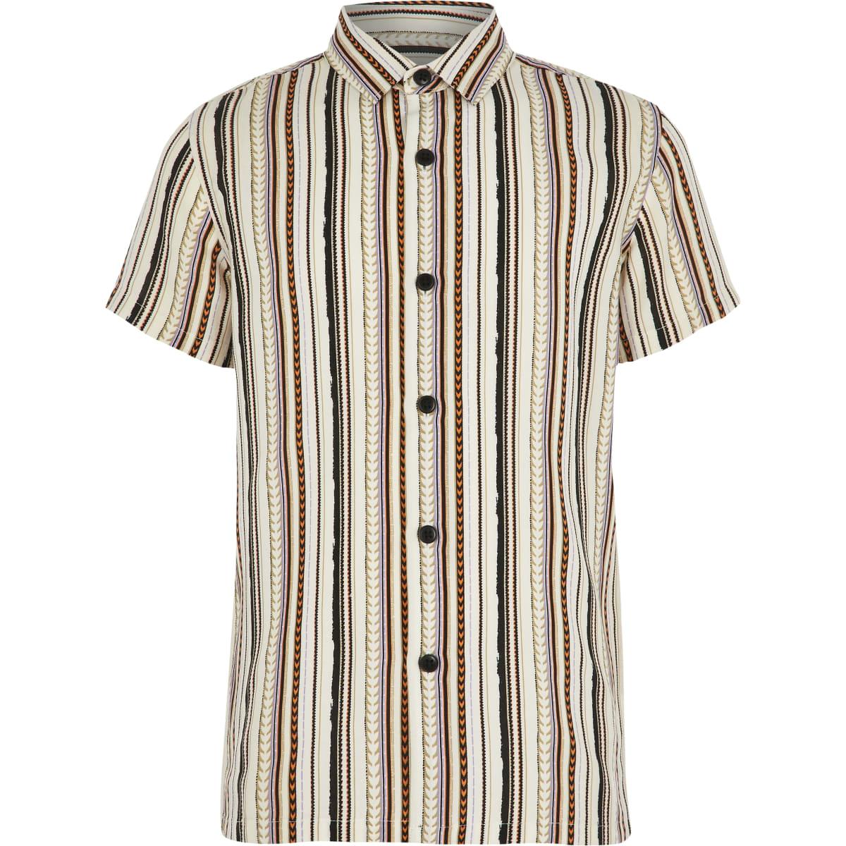 Boys white aztec stripe short sleeve shirt
