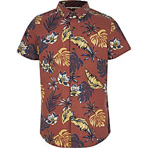 Boys rust palm print shirt