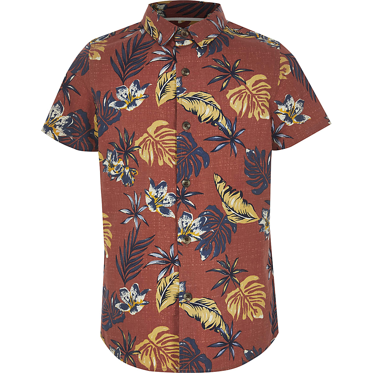 Boys rust palm print shirt