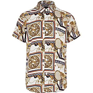 Ecru overhemd met barokprint en korte mouwen voor jongens