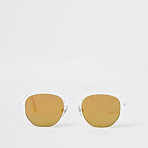Boys white hexagon retro sunglasses