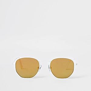 Witte zeshoekige retro zonnebril voor jongens