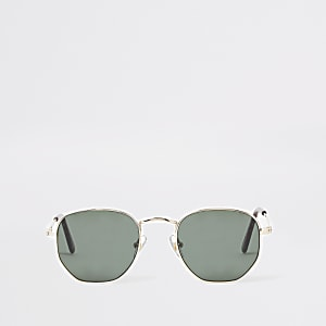 Boys gold tone hexagon retro sunglasses